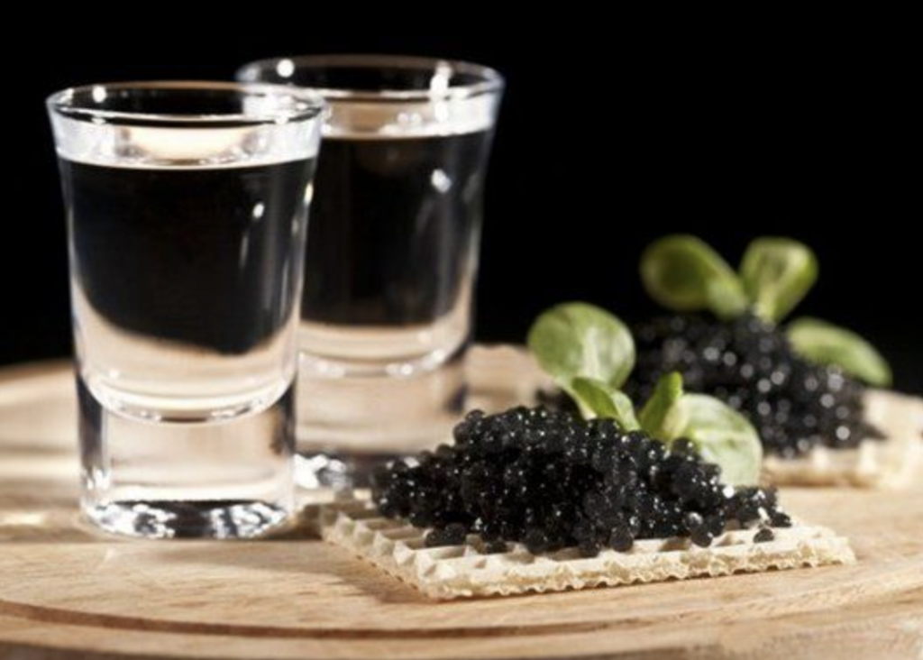 Beluga Caviar and Infused Vodka Shots