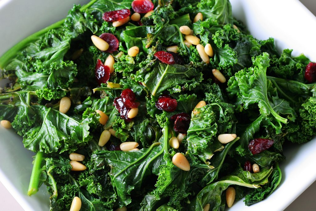 Massaged Kale Salad with Dried Cranberries and Country Ham